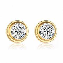 Cartier Diamants Legers DE Earrings in 18K Yellow Gold With 1 White Diamond