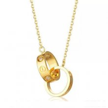 Cartier Love Necklace In 18K Yellow Gold With Two Rings With 3 Diamonds