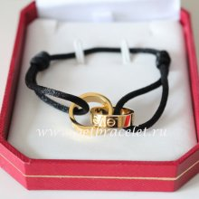 Cartier Double Ring Love Bracelet Yellow Gold Black Rope