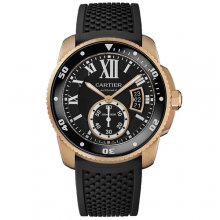 Calibre de Cartier Diver replica watch W7100052 pink gold black rubber strap