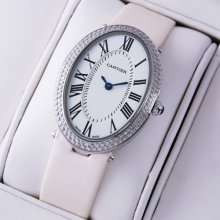 Cartier Baignoire steel diamond watch for women white satin strap