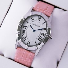 Cartier Baignoire steel large imitation watch for women pink leather strap