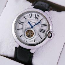 Ballon Bleu de Cartier Flying Tourbillon extra large watch silver dial steel black leather strap