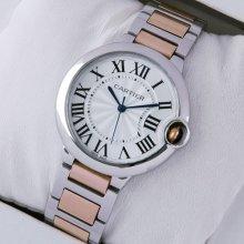 Ballon Bleu de Cartier medium quartz watch two-tone 18kt pink gold and steel