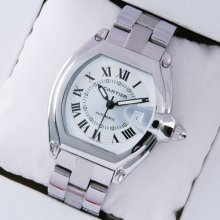 Cartier Roadster stainless steel ivory dial automatic watch replica for men