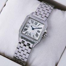 Cartier Santos Demoiselle 18K white gold diamond swiss watch for women WF9004Y8