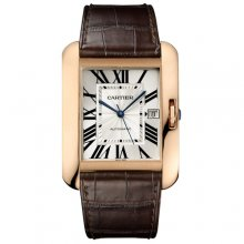 Cartier Tank Anglaise extra large watch for men W5310004 18K pink gold brown leather strap