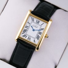 Must de Cartier Vermeil midsize swiss watch 18K yellow gold black leather strap