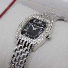 Cartier Tortue small diamond watch for women steel black dial