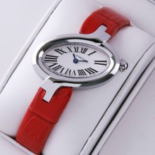 Delices de Cartier replica watch for women stainless steel leather strap