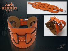 Hermes Fetiche Leather Bracelet Orange