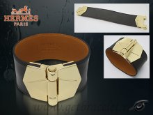 Hermes Berenice Leather Bracelet Black With Gold Cuff