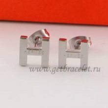 Hermes H Earrings in White Gold
