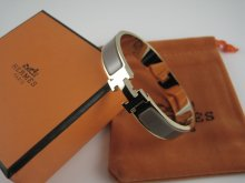 Hermes Gray Enamel Clic H Bracelet Narrow Width (12mm) In Gold
