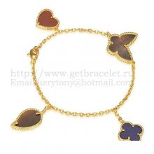 Van Cleef & Arpels Lucky Alhambra 4 Motifs Bracelet Yellow Gold With Stone Combination 002