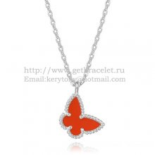 Van Cleef Arpels Lucky Alhambra Butterfly Necklace White Gold With Carnelian Mother Of Pearl