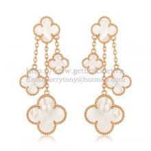 Van Cleef & Arpels Magic Alhambra 4 Motifs Earrings Pink Gold With White Mother Of Pearl