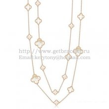 Van Cleef & Arpels Magic Alhambra Necklace Pink Gold 16 Motifs With White Mother Of Pearl