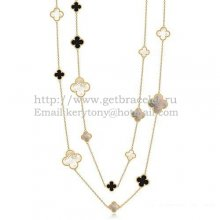 Van Cleef & Arpels Magic Alhambra Necklace Yellow Gold 16 Motifs With Black Agate White Gray Mother Of Pearl