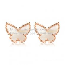 Van Cleef & Arpels Sweet Alhambra Butterfly Earrings Pink Gold With White Mother Of Pearl
