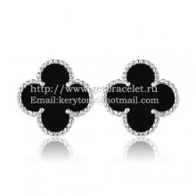 Van Cleef & Arpels Sweet Alhambra Earrings 15mm White Gold With Black Onyx Mother Of Pearl