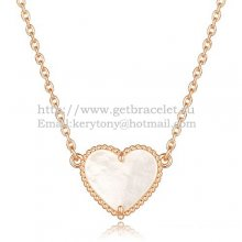 Van Cleef Arpels Sweet Alhambra Heart Pendant Pink Gold With White Mother Of Pearl