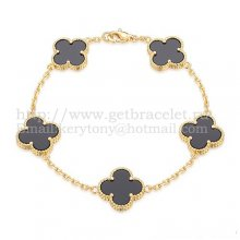 Van Cleef & Arpels Vintage Alhambra Bracelet 5 Motifs Yellow Gold With Black Agate Mother Of Pearl