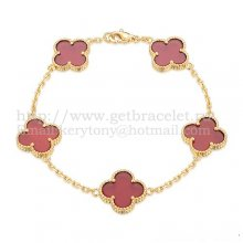 Van Cleef & Arpels Vintage Alhambra Bracelet 5 Motifs Yellow Gold With Carnelian Mother Of Pearl