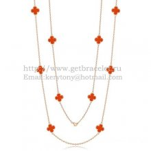 Van Cleef & Arpels Vintage Alhambra Necklace Pink Gold 10 Motifs With Carnelian Mother Of Pearl