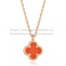 Van Cleef & Arpels Sweet Alhambra Pendant Pink Gold With Carnelian Mother Of Pearl 9mm
