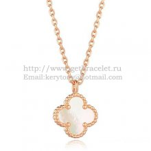 Van Cleef & Arpels Sweet Alhambra Pendant Pink Gold With White Mother Of Pearl 9mm