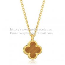 Van Cleef & Arpels Sweet Alhambra Pendant Yellow Gold With Tiger's Eye Mother Of Pearl 9mm