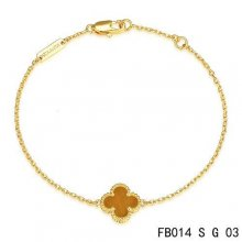 Cheap Van Cleef & Arpels Sweet Alhambra Bracelet In Yellow With Light Red Clover