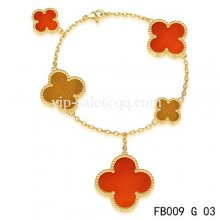 Fake Van Cleef & Arpels Magic Alhambra Bracelet In Yellow With 5 Stone Clover