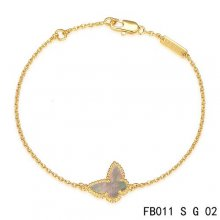 Imitation Van Cleef & Arpels Sweet Alhambra Bracelet In Yellow With Gray Butterfly