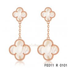 Imitation Van Cleef & Arpels Alhambra Pink Gold Earrings White Mother Of Pearl