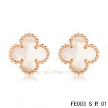 Imitation Van Cleef & Arpels Clover White Mother Of Pearl Pink Gold Earrings
