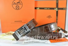 Hermes Reversible Belt Brown/Black Crocodile Stripe Leather With18K Silver Big H Buckle