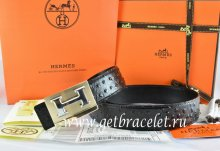 Hermes Reversible Belt Black/Black Ostrich Stripe Leather With 18K Gold Big H Buckle