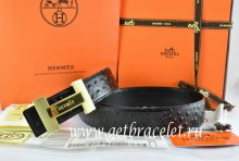 Hermes Reversible Belt Black/Black Ostrich Stripe Leather With 18K Gold H Logo Buckle