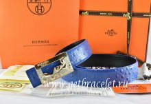 Hermes Reversible Belt Blue/Black Ostrich Stripe Leather With 18K Gold Coach Buckle