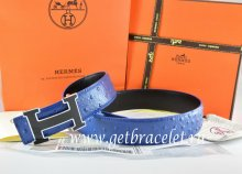 Hermes Reversible Belt Blue/Black Ostrich Stripe Leather With 18K Black Gold Width H Buckle