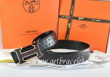 Hermes Reversible Belt Black/Black Ostrich Stripe Leather With 18K Black Silver Width H Buckle