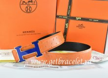 Hermes Reversible Belt Orange/Black Ostrich Stripe Leather With 18K Blue Gold Width H Buckle