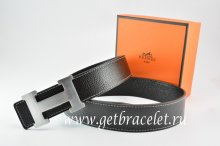 Hermes Reversible Belt Black/Black Togo Calfskin With 18k Silver H Buckle