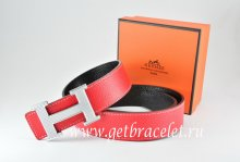 Hermes Reversible Belt Red/Black Togo Calfskin With 18k Gold Wave Stripe H Buckle