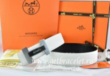 Hermes Reversible Belt White/Black Togo Calfskin With 18k Silver Logo H Buckle