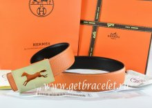 Hermes Reversible Belt Orange/Black Togo Calfskin With 18k Hollow Horse Gold Buckle