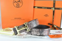 Hermes Reversible Belt Brown/Black Snake Stripe Leather With 18K Gold Idem With Logo Buckle
