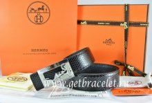 Hermes Reversible Belt Black/Black Snake Stripe Leather With 18K Silver Coach Buckle